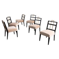 Newly Upholstered 1960's Set of 6 Dining Chairs