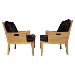 "Flexform ""Betty"" Chair with Soild Wood Frame and Hair on Hide Cushions"