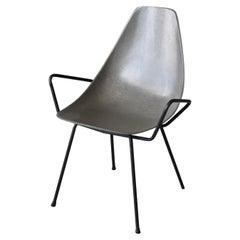 Mel Abitz & Forest Wilson, Arm Chair, Grey Fiberglass, Metal, USA, 1950s
