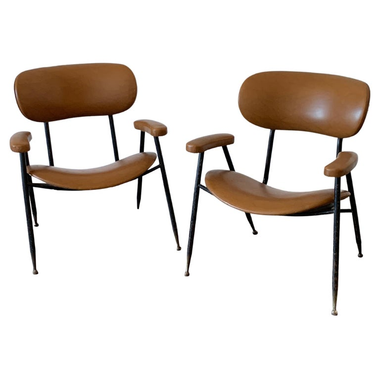 Two Italian Faux Leather Chairs by Gastone Rinaldi for RIMA 1960s  For Sale
