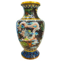 Vintage Chinese Cloisonné Vase with Dragon and Phoenix, c. 1940's