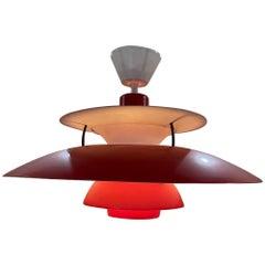 Poul Henningsen Red Lamp Iconic PH5 Pendant Light Louis Poulsen, Denmark, 1958
