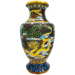Vintage Chinese Cloisonné Vase with Large Phoenix and Dragon, c. 1940's