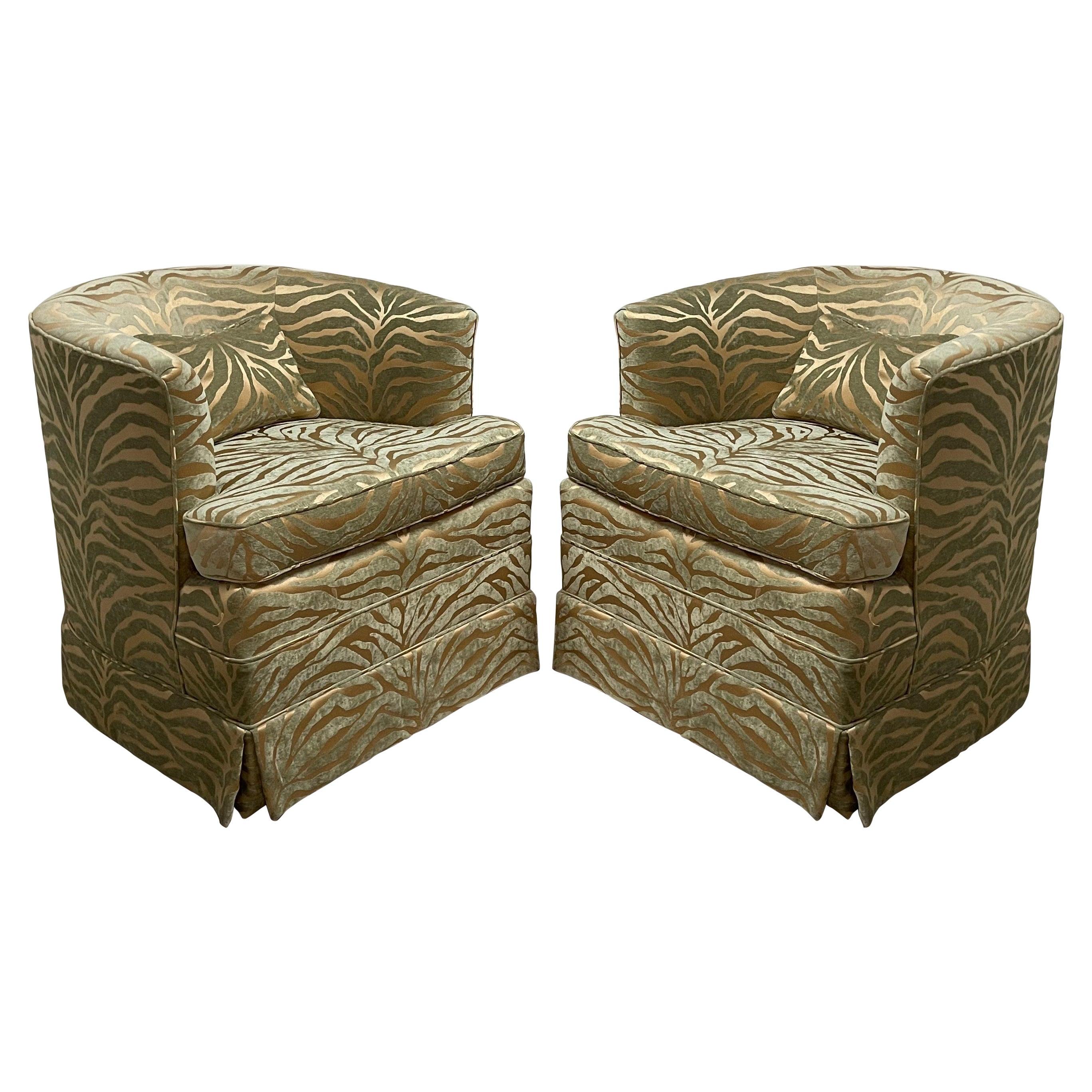 Pair of 1970's Swivel Barrel Back Chairs, Milo Baughman Style