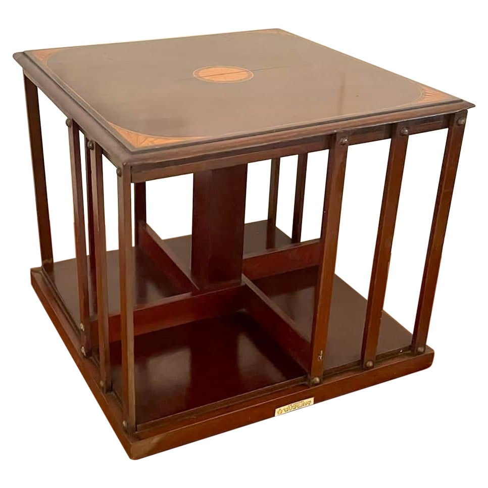Quality Antique Edwardian Mahogany Inlaid Table Top Revolving Bookcase