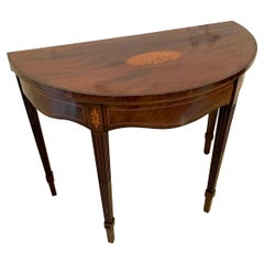 Outstanding Quality Antique Edwardian Inlaid Mahogany Demi-Lune Tea Table