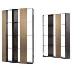 DeCastelli Nami Modular Bookcase in Striped DeLabré Brass by Andrea Parisio