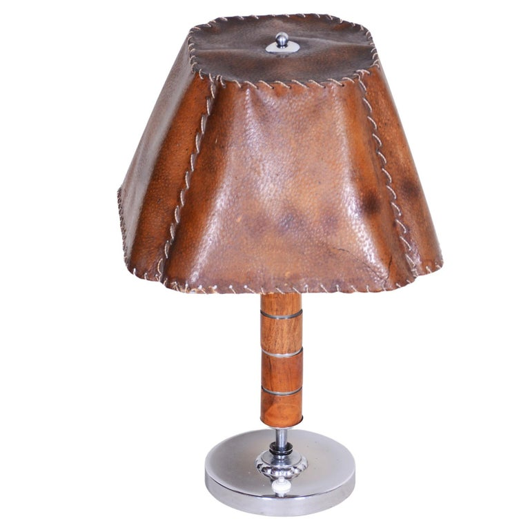 Czech Art Deco Table Lamp, Fully Restored, 1920s, Walnut, Chrome and Parchment For Sale