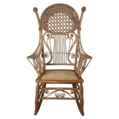 Antique Heywood Wakefield Victorian Wicker Rocking Arm Chair Rattan Seat 1900s
