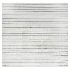 Doris Leslie Blau Collection Modern Striped High-Low Green White Flat-Weave Rug