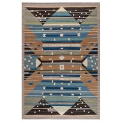 Swedish Design Blue, Brown, Gray, Green and Ivory Flat-Weave Rug