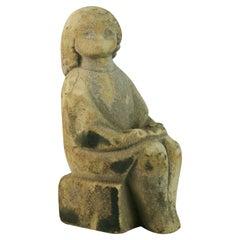 Belgium Hand Carved Limestone Female Seated Sculpture
