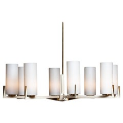 Grand Chandelier in White Lacquer with Brass and Fosted Glass Vases by Kaiser