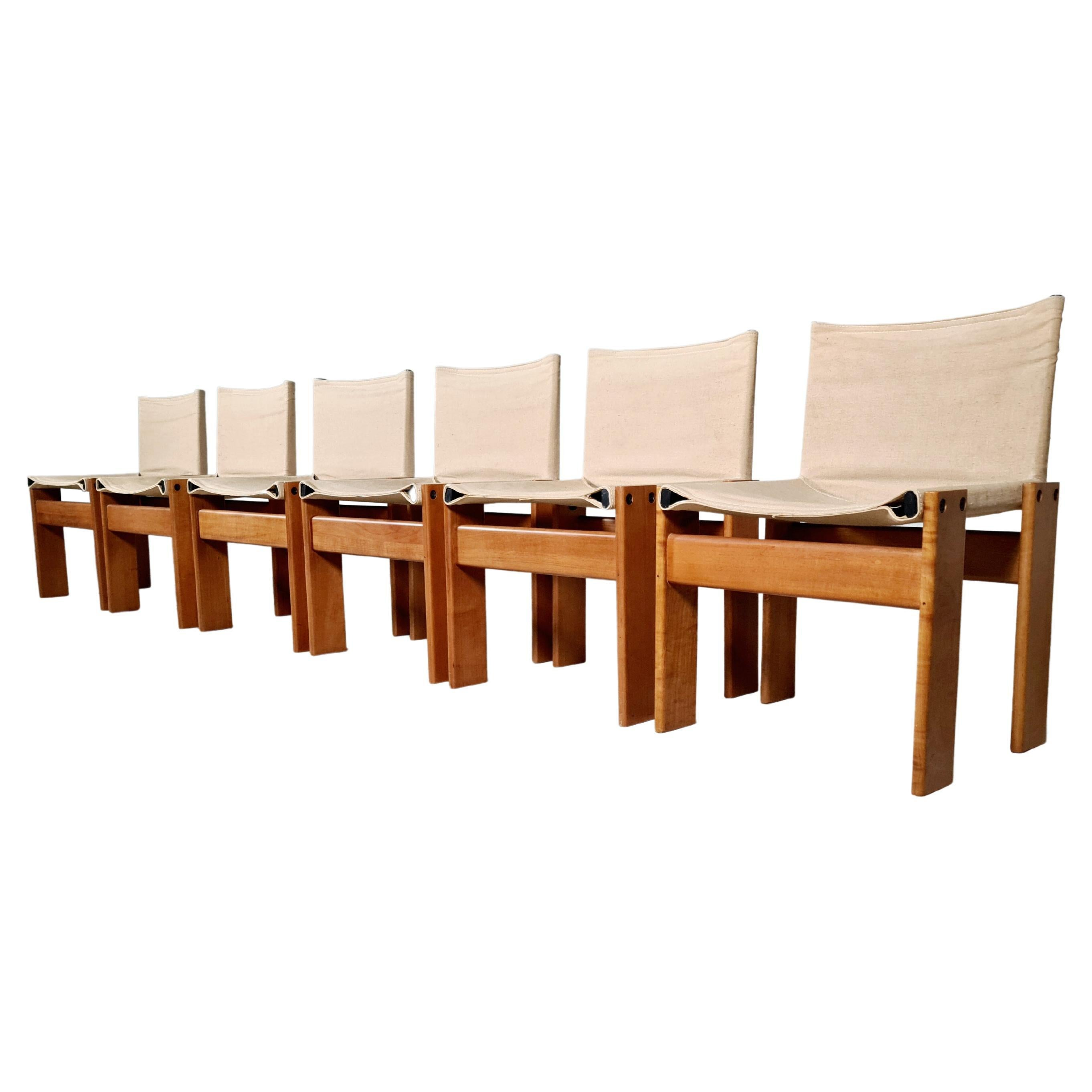 Afra & Tobia Scarpa Set of Six 'Monk' Dining Chairs in Canvas, 1970s