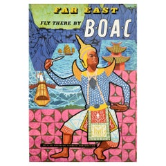 Original Vintage Air Travel Poster Far East Fly There By BOAC Asia Dance Design