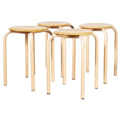 1960's Simple French Stacking School Stools, Pink, Set of Four