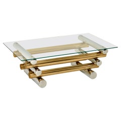 1970's Vintage Chrome & Brass Coffee Table by Pieff