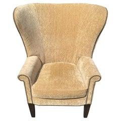 Luxurious Camel Mohair Velvet Wing Chair