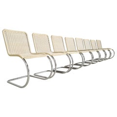 Set of 8 B42/1 Tecta Creme White Cane Dining Chairs, 1960s