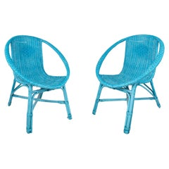 Pair of 1970s Spanish Woven Wicker Blue Chairs