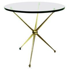 Circular Italian Midcentury Brass and Glass Coffee Table