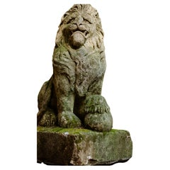 Pair of 19th century Regal Carved English Stone Lion