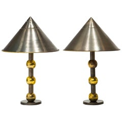 Pair of Industrial Brass Lamps