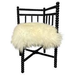 Petite Black Lacquered Corner Bobbin Chair