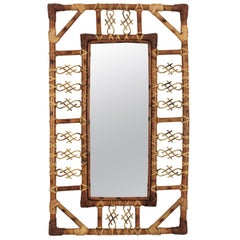 French Rattan and Bamboo Mirror with Chinoiserie Motifs