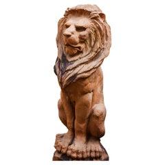 Antique French/ English Terra-Cotta Lion