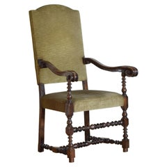 Italian Walnut Louis XIII Carved Armchair