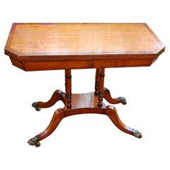 English Regency Period Satinwood Card Table, Rosewood Crossbanding, Ebony Inlay