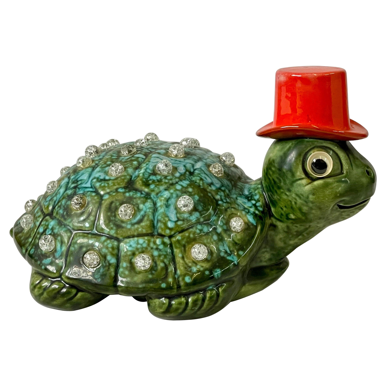 Vintage Turtle in Top Hat Ceramic Lamp