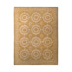 Rug & Kilim's Aubusson Style Flat Weave Beige-Brown Floral Pattern