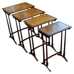 English Edwardian Period Nest of Four Inlaid Mahogany Tables