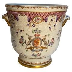 Large French Porcelain Armorial Jardinière by Edme Samson
