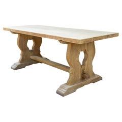 Antique Stripped French Oak Trestle Style Farm Table