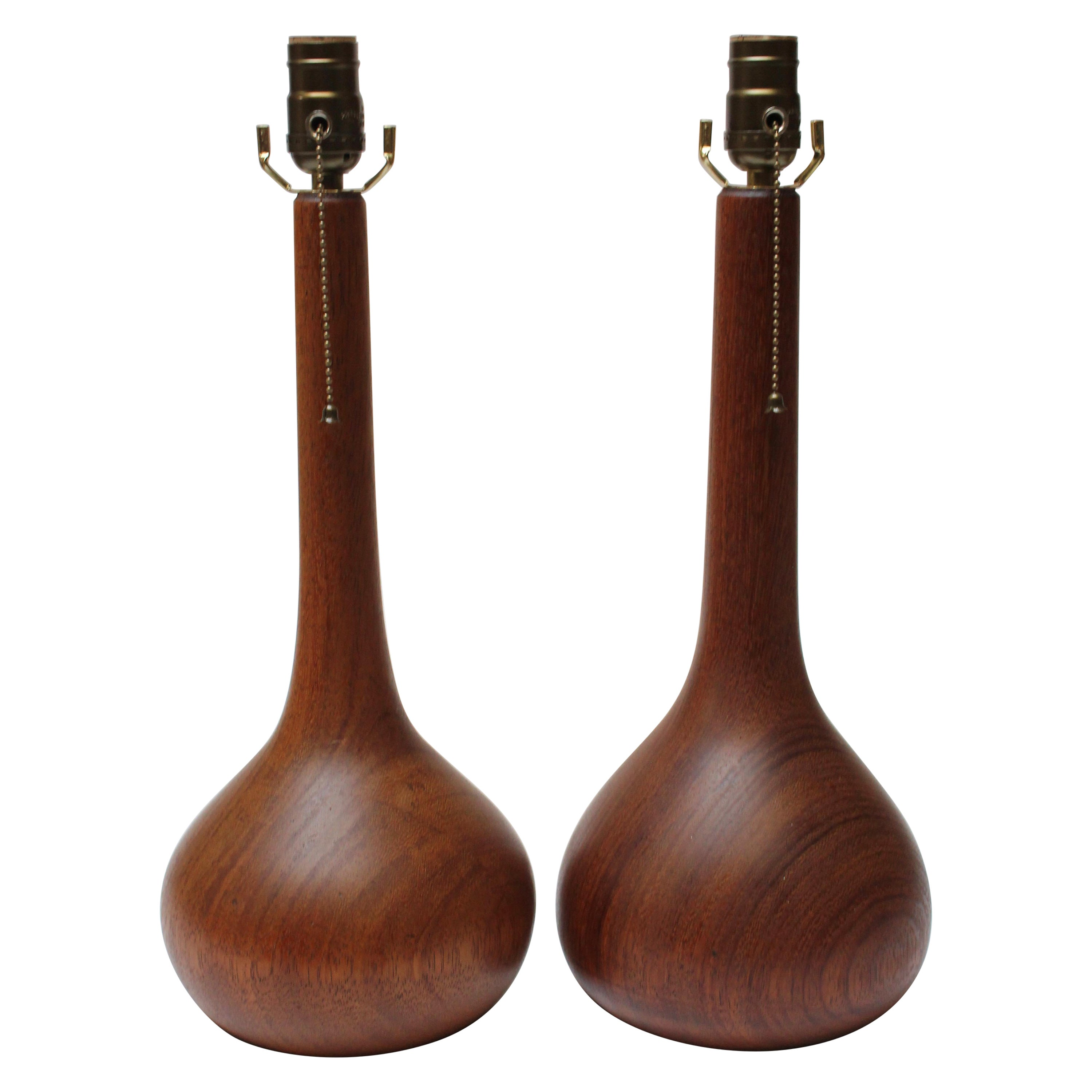 Pair of Danish Solid Staved Teak Bulbous-Form Table Lamps