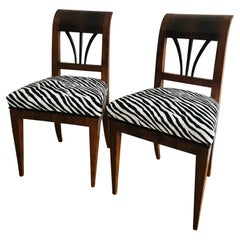 Pair of Biedermeier 1820 Viennese Walnut Chairs with Zebra Textile