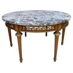 20th Century French Louis XVI Style Bronze, Round Marble & Oak Table