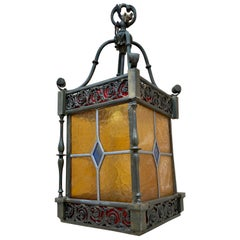 Wrought Iron and Stained Glass Ceiling Lantern Lamp, 1950s