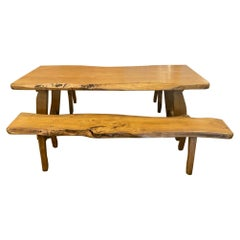Live Edge Dining Table with Benches, France, 1960-70's