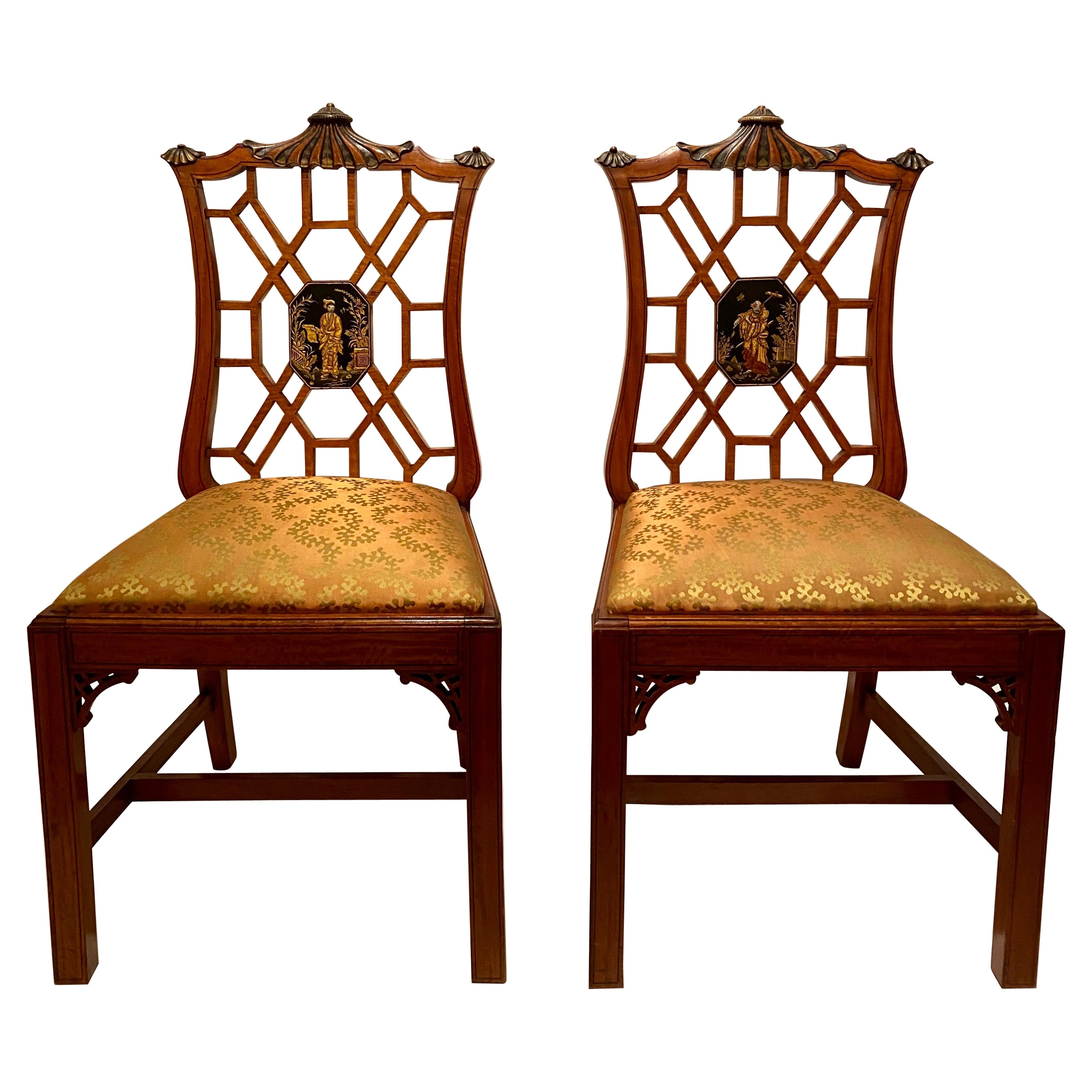 Pair Antique English Chinoiserie Lacquer Detail Satinwood Side Chairs, Ca. 1900