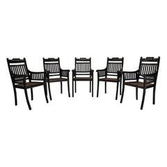 Set of '6' Ebony & Cane Dining Chairs, England, 1940