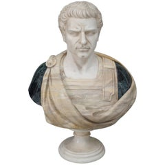 Turn of the Century Italian Neoclassical Polychrome Marble Bust of a Roman Man
