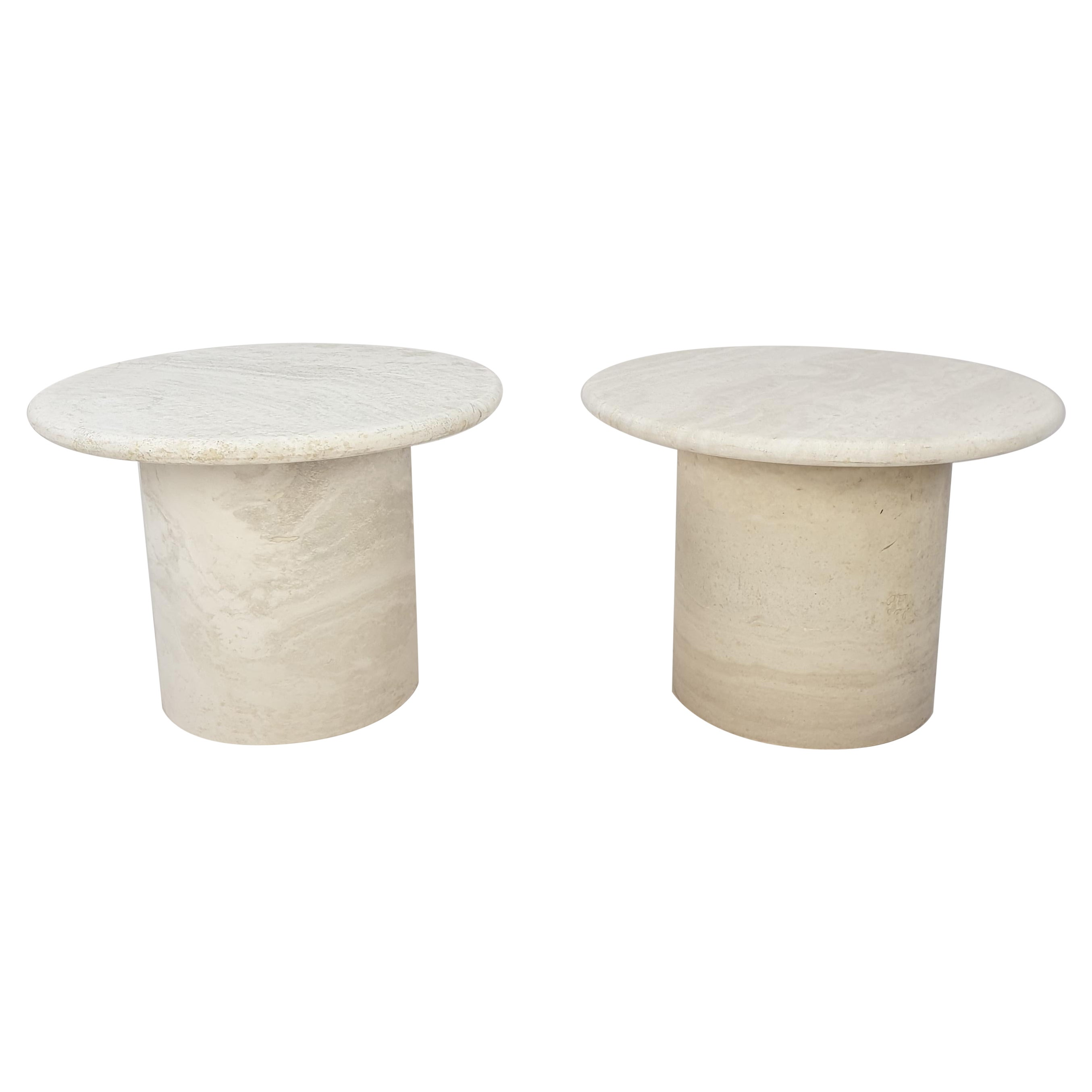 Set of Round Travertine Coffee Tables by Up & Up Italy, 1970s