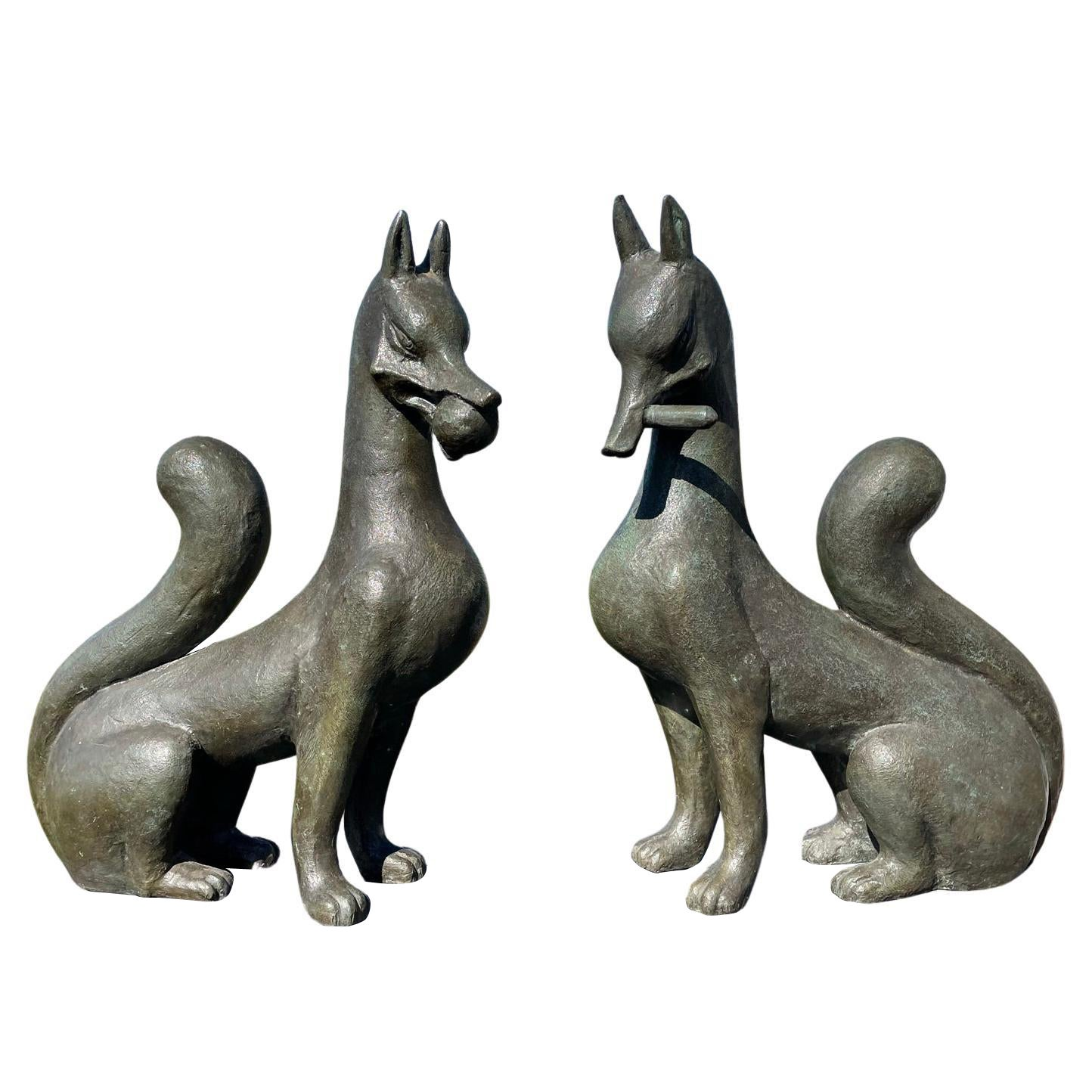 Japan Fine Antique Pair Bronze Fox Kitsune