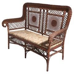 Antique Wicker Settee Sofa Loveseat