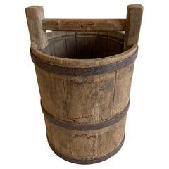 Vintage Weathered Cypress Wood Garden Buckets with Handle