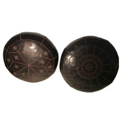 Pair of Leather Round Yoga Pillows